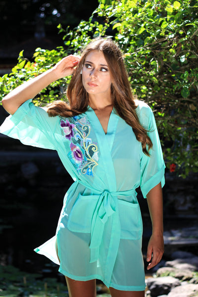 Zelda. The Naked Robe. Chiffon Lingerie. Kimono Robe Style. Blue Lace detail. Boho Chic. best Bridesmaids gifts. Salome Sirens Sleepwear. Women robes. Best wedding gifts. Designer Laundry