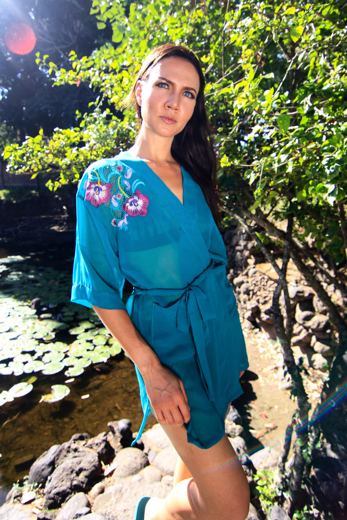 Athena from The Naked Robe made by Chiffon, Lingerie with Kimono Robe Style. Designer Laundry, Turquoise Lace detail. Boho Chic. best Bridesmaids gifts. Salome Sirens Sleepwear. Woman robe, Best gift for wedding and honeymoon.