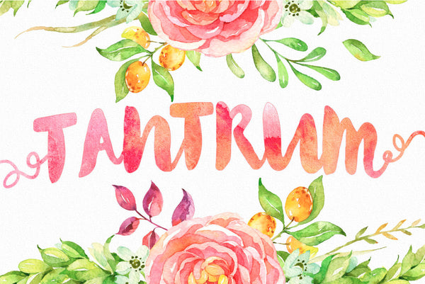 Tantrum Typeface + Bonus Watercolour Artsy Kit - JasGraphicTools