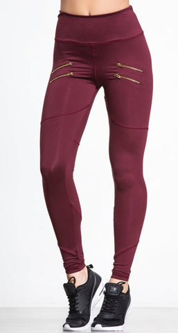 Varley Palms Tight- Burgundy