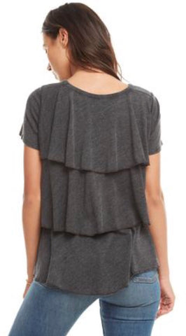 Chaser Brand-Vintage Tribkend Ruffle Tier Back Crew Neck Tee; Heathered Black