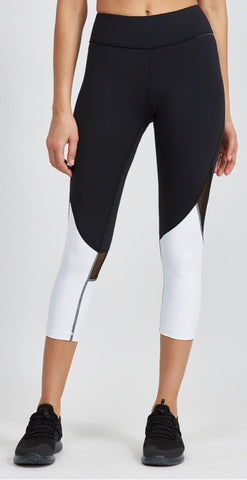 Alala- Captain Crop Tight; Black + White