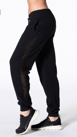 Nux- Ricky Track Pant/Joggers w Mesh Detail; Black