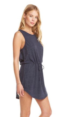 Chaser Brand- Vintage Triblend Knot Back Hi-Lo Shirttail Dress; Avalon