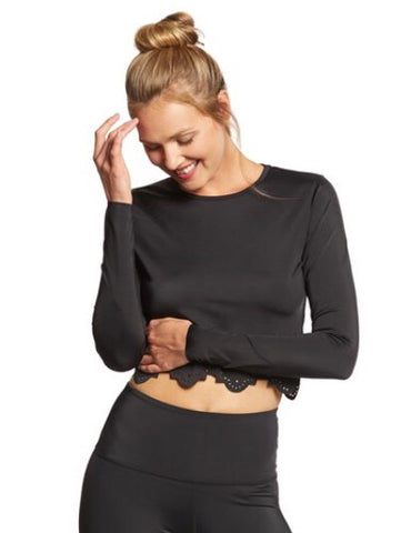 Beyond Yoga- Cruz Scalloped L/S Crop Top; Black