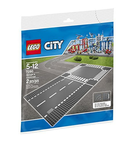 Lego City Town Straight and Crossroads Plate 7280