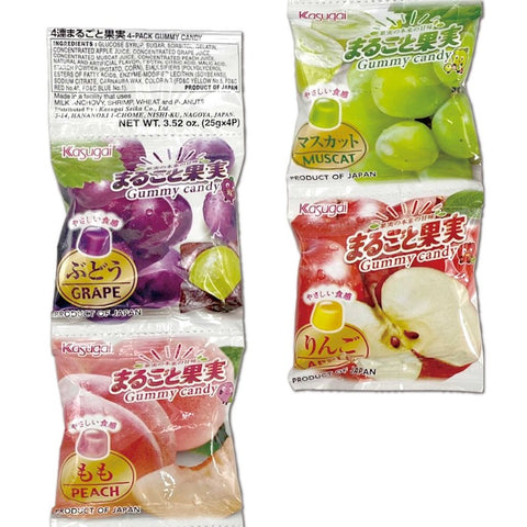 Kasugai 4 pack gummy apple muscat grape peach