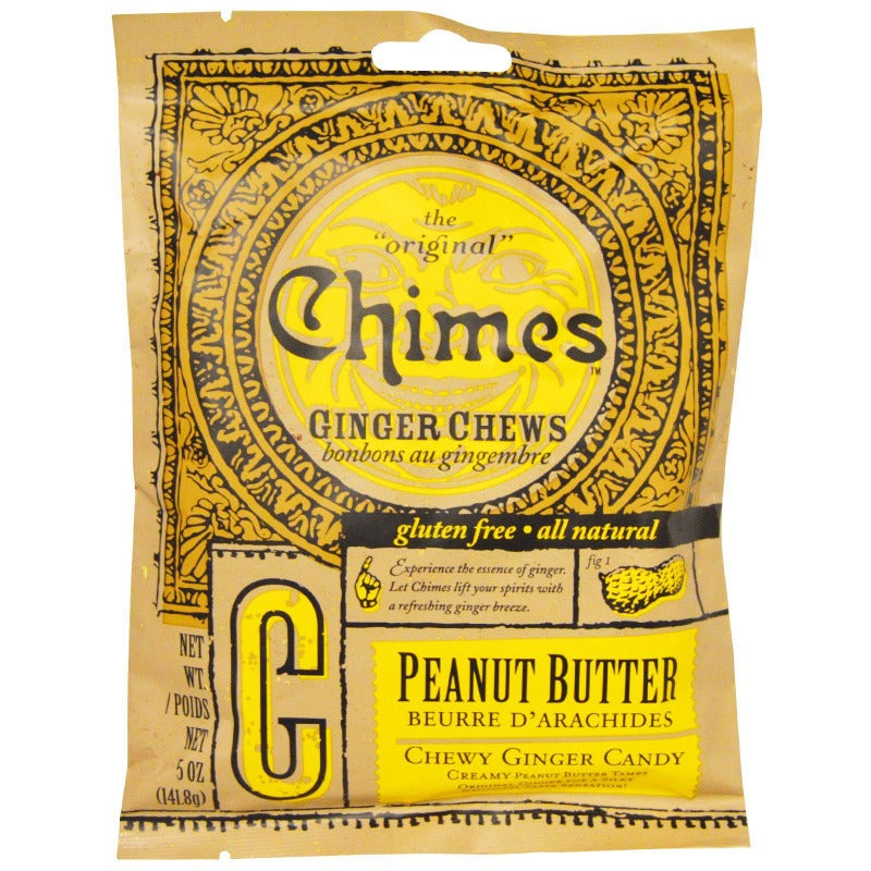 Chimes Ginger Chews Chewy Candy with Peanut Butter, 5 oz Chewy Chimes