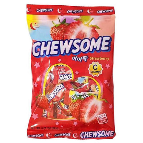 Crown Confectionary Chewsome MyChew Chewy Candy, Grape or Strawberry, 3.25 oz Chewy Crown Strawberry