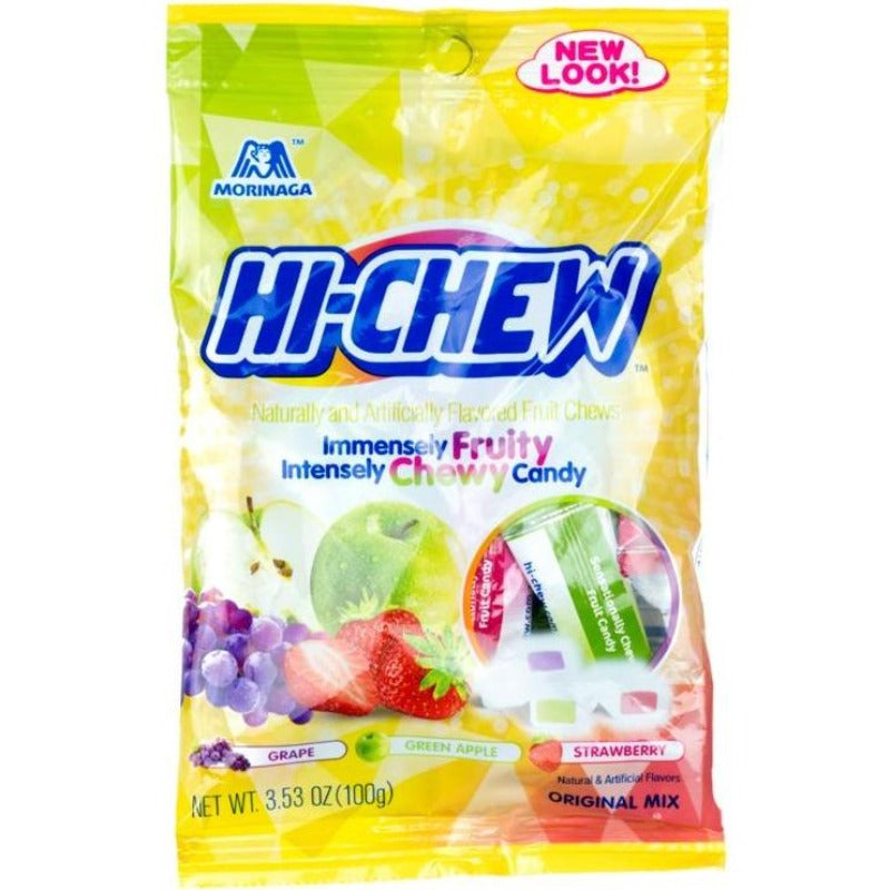 Morinaga Hi Chew Original Mix Bag Chewy Candy Strawberry, Green Apple, Grape Flavors, 3.53 oz Chewy Morinaga