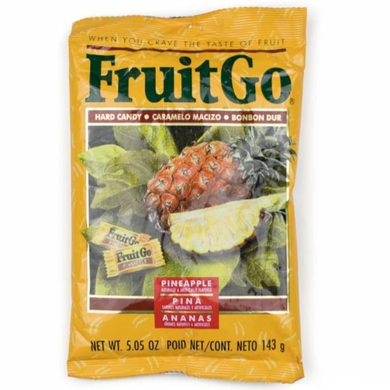 FruitGo Hard Fruit Candy 5 Flavors - Melon, Strawberry, Mango, Lychee, Pineapple Hard FruitGo Pineapple
