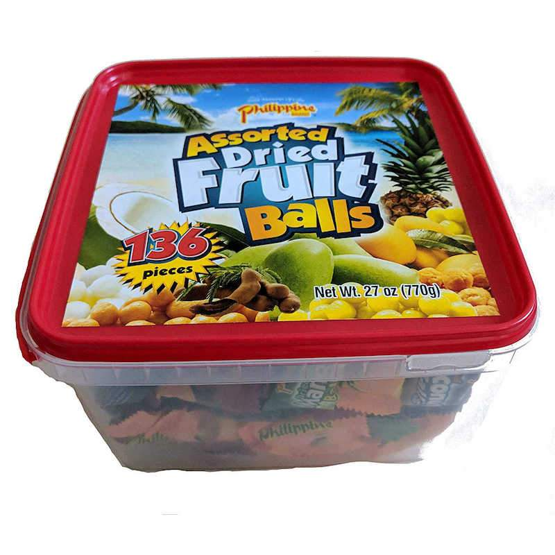 Philippine Dried Assorted 4 Flavor Fruit Balls Family Size Tub 770 grams Chewy Philippine