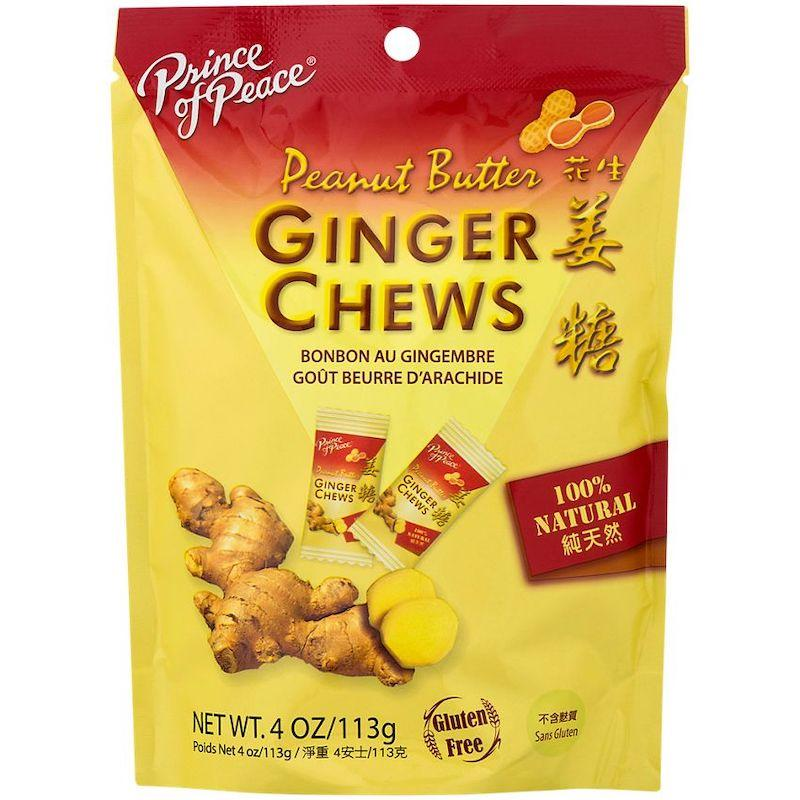 Prince of Peace 100% Natural Ginger Chews Candy with Peanut Butter, 4 oz Chewy Prince of Peace