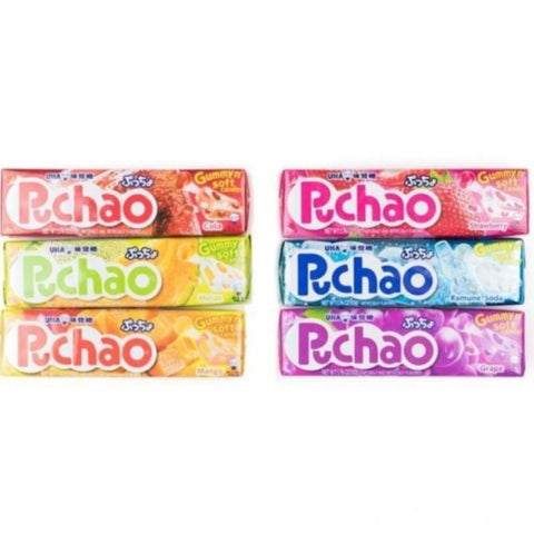 Uha Mikakuto Japan Puccho Puchao Chewy Candy Various Flavors, 10 Pieces Chewy Uha