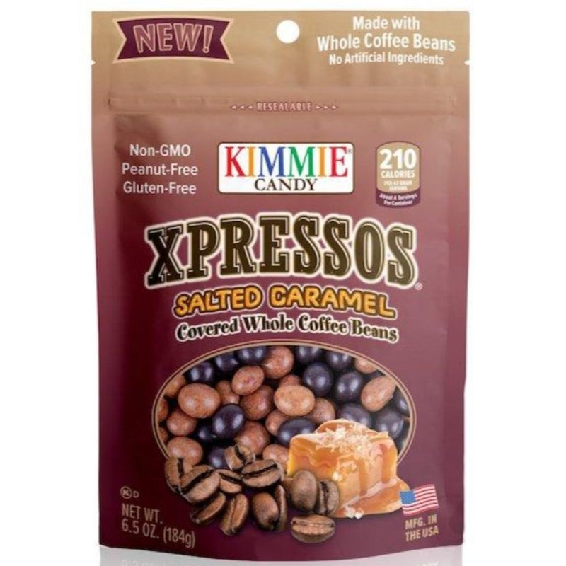 Kimmie Candy Xpressos Natural Salted Caramel Covered Espresso Coffee Beans 6.5 oz Bag