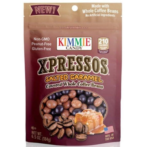 Kimmie Candy Xpressos Natural Salted Caramel Covered Espresso Coffee Beans 6.5 oz Bag Seasonal Kimmie Candy