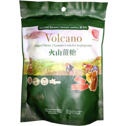 Sina Volcano Assorted Ginger Chews with Original, Lemon, Mango and Orange 4.4 oz Chewy Sina