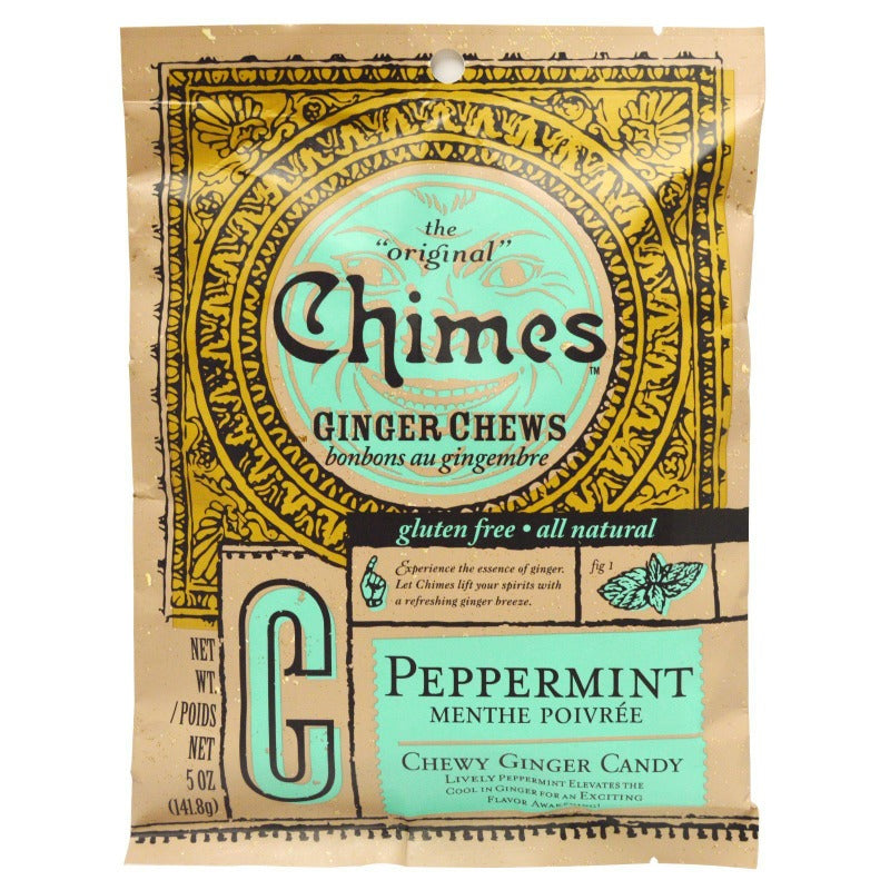 Chimes Ginger Chews Chewy Candy with Peppermint, 5 oz Chewy Chimes