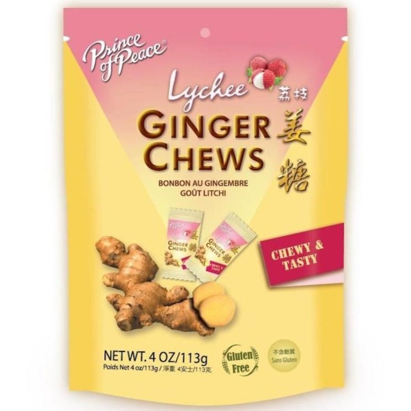 Prince of Peace 100% Natural Ginger Chews Candy with Lychee, 4 oz Chewy Prince of Peace
