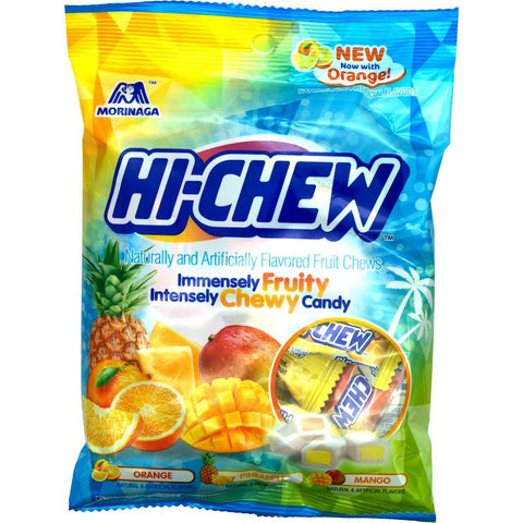 Morinaga Hi Chew Tropical Mix Bag Chewy Candy Orange, Pineapple, Mango Flavors, 3.53 oz Chewy Morinaga
