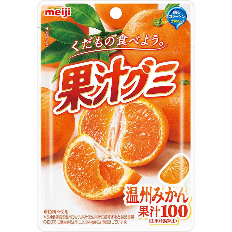 Meiji Kajyu Fruit Juice Gummy Candy from Japan, Various Flavors, 1.79 oz