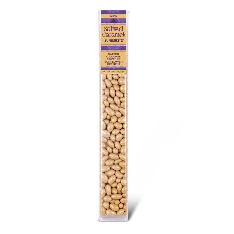 Kimmie Candy Sunbursts Salted Caramel Covered Sunflower Kernels Seeds 3 oz Tube Seasonal Kimmie Candy