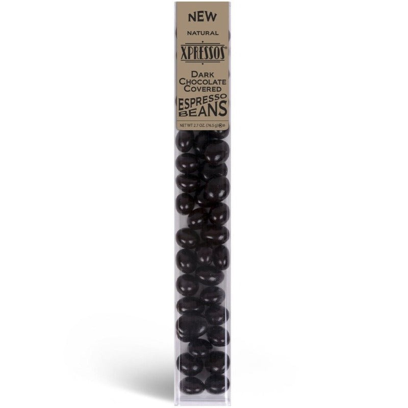 Kimmie Candy Xpressos Natural Dark Chocolate Covered Espresso Coffee Beans 3 oz Tube Seasonal Kimmie Candy