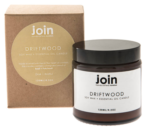Driftwood - Join Luxury Scented Soy Wax + Essential Oil  Candle