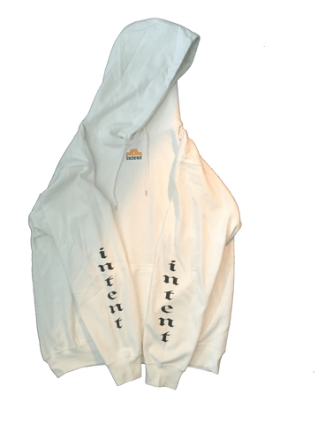 SIMPLE HOOD / WHITE // L.E WEALTH LOGO // INTENT STORES LOS ANGELES