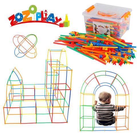 ZoZoplay Straw Constructor STEM Building Toys 400 Piece Straws and Connectors Building Sets Colorful Motor Skills Interlocking Plastic Engineering Toys Best Educational Toys Gift for Boys & Girls