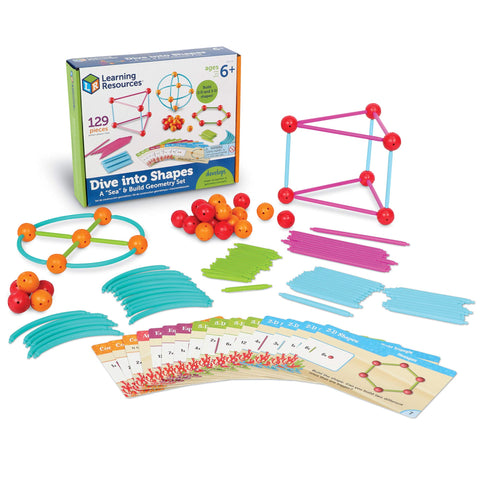 "Learning Resources Dive Into Shapes! A ""Sea"" & Build Geometry Set, 129 Piece, Ages 6+"