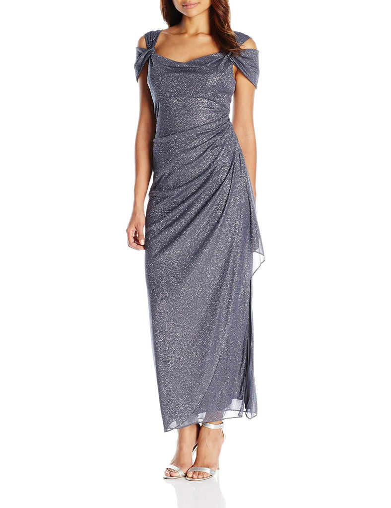 Alex Evenings Women's Long Cold Shoulder Dress (Petite and Regular Sizes), Smoke, 16-Alex Evenings-hipnfly