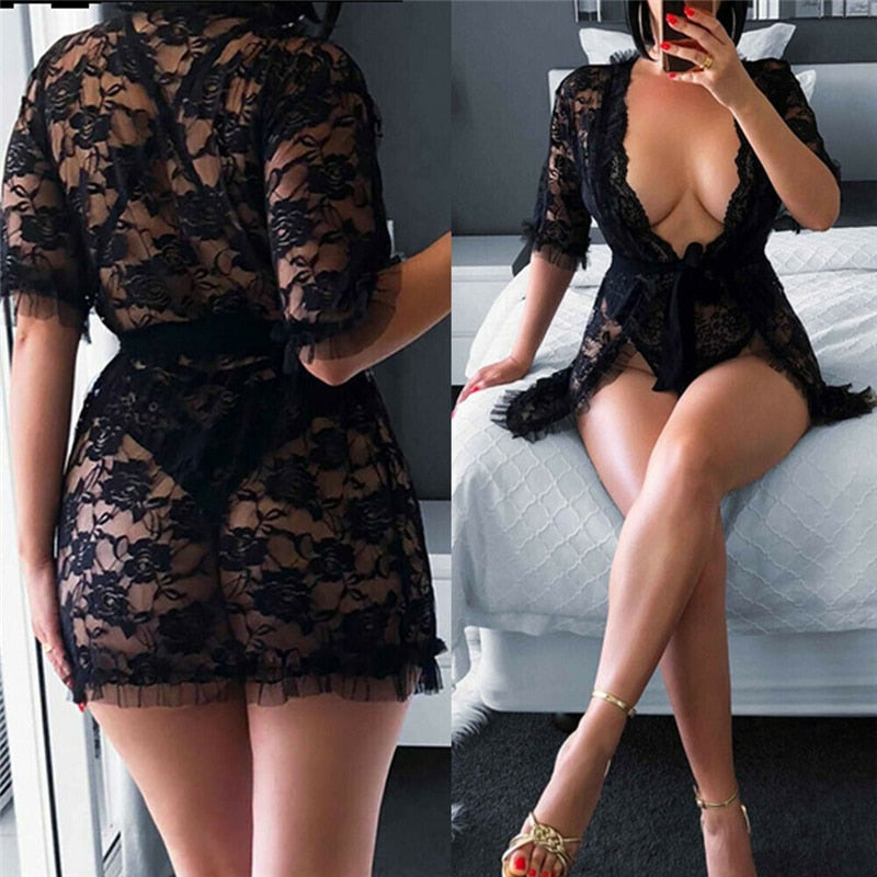 Women Summer Sexy Pajamas Black Lace Hollow Out Robes