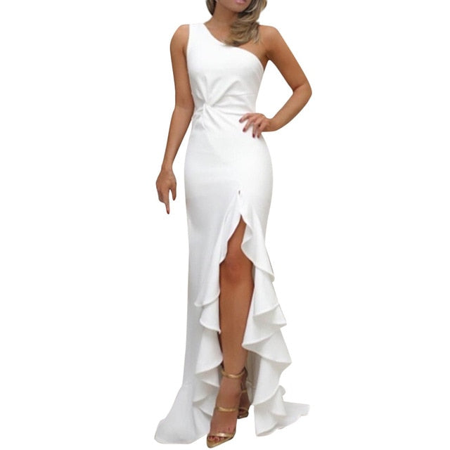 JAYCOSIN 2019 New Summer Women Dress One Shoulder Ruched Ruffle Formal Evening Party Dress Slim Maxi long Dresses vestidos 606-hipnfly-White-L-China-hipnfly