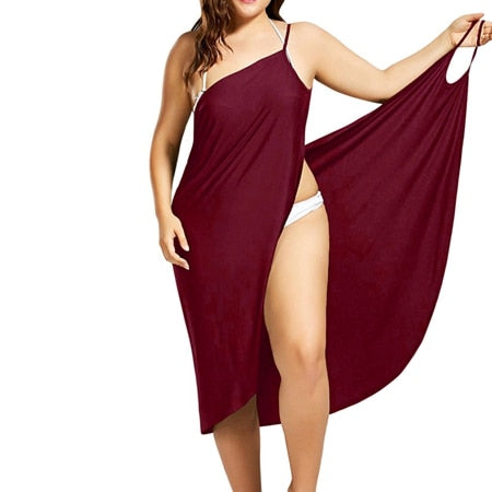 Wine Red Sarong Beach Dress 2019 Holiday Beachwear Women Summer Dress Beach Sexy Robe Spaghetti Straps Big Size Wrap Vestido 5XL-hipnfly-Red wine-4XL-hipnfly