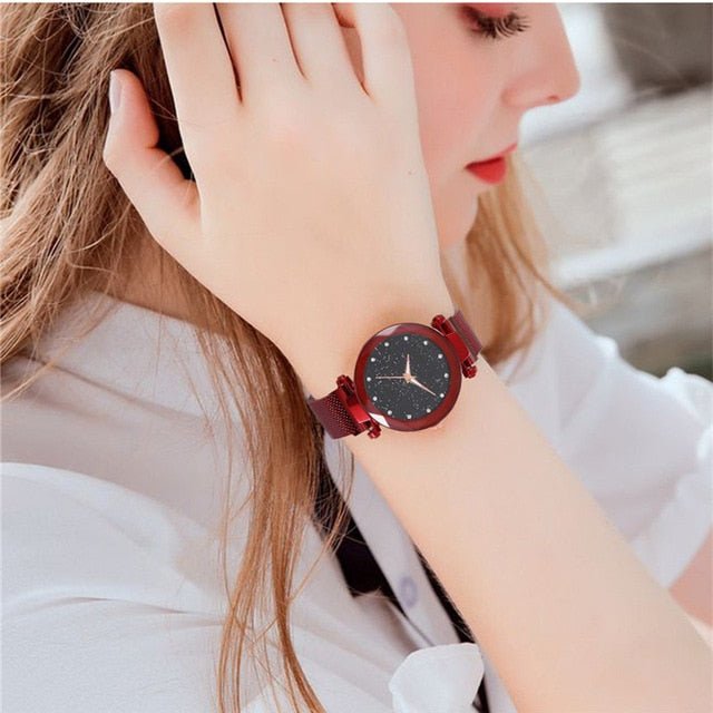 Women Starry Sky Watch Luxury Magnetic Buckle Mesh Band Quartz Wristwatch Female Rose Gold Diamond Watches zegarek damsk-hipnfly-A Red-hipnfly