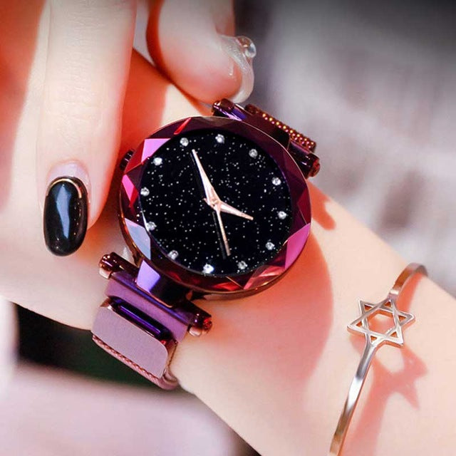 Women Starry Sky Watch Luxury Magnetic Buckle Mesh Band Quartz Wristwatch Female Rose Gold Diamond Watches zegarek damsk-hipnfly-A Purple-hipnfly