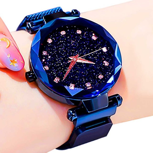 Women Starry Sky Watch Luxury Magnetic Buckle Mesh Band Quartz Wristwatch Female Rose Gold Diamond Watches zegarek damsk-hipnfly-A Blue-hipnfly