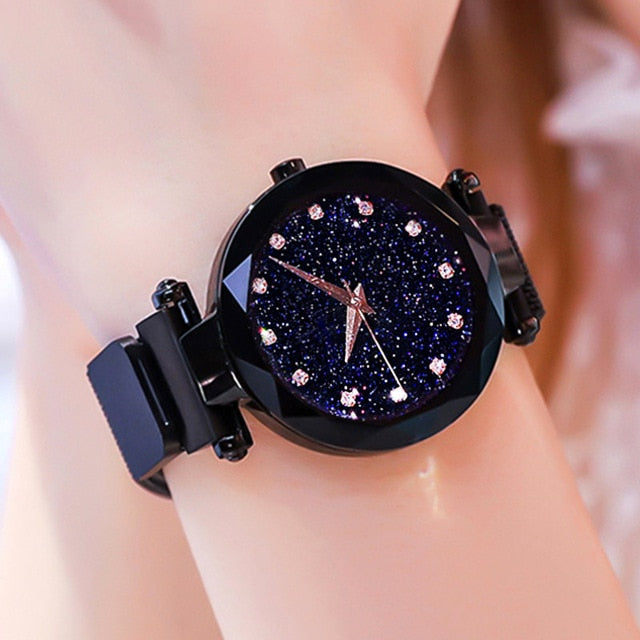 Women Starry Sky Watch Luxury Magnetic Buckle Mesh Band Quartz Wristwatch Female Rose Gold Diamond Watches zegarek damsk-hipnfly-A Black-hipnfly