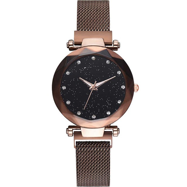 Women Starry Sky Watch Luxury Magnetic Buckle Mesh Band Quartz Wristwatch Female Rose Gold Diamond Watches zegarek damsk-hipnfly-A Coffee-hipnfly
