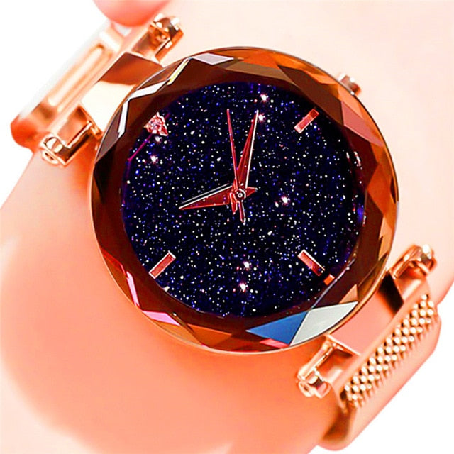 Women Starry Sky Watch Luxury Magnetic Buckle Mesh Band Quartz Wristwatch Female Rose Gold Diamond Watches zegarek damsk-hipnfly-B Gold-hipnfly