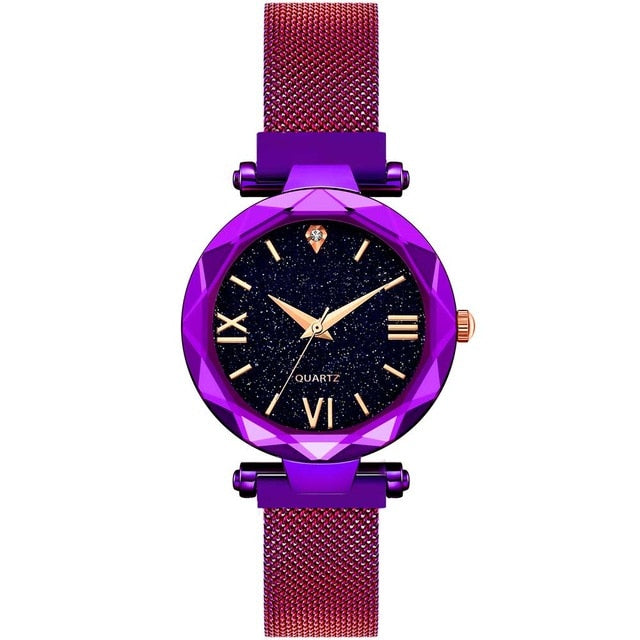 Women Starry Sky Watch Luxury Magnetic Buckle Mesh Band Quartz Wristwatch Female Rose Gold Diamond Watches zegarek damsk-hipnfly-C Purple-hipnfly