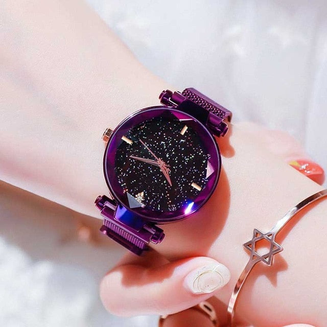Women Starry Sky Watch Luxury Magnetic Buckle Mesh Band Quartz Wristwatch Female Rose Gold Diamond Watches zegarek damsk-hipnfly-B Purple-hipnfly