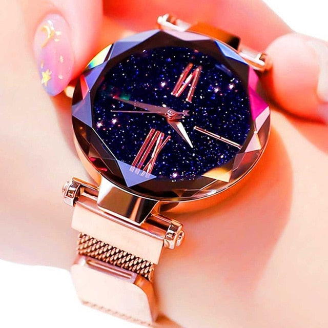 Women Starry Sky Watch Luxury Magnetic Buckle Mesh Band Quartz Wristwatch Female Rose Gold Diamond Watches zegarek damsk-hipnfly-hipnfly