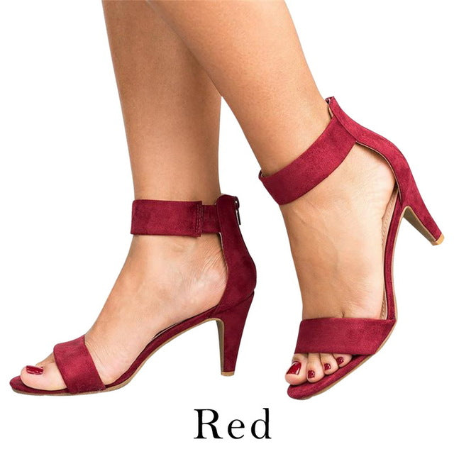 Puimentiua Shoes Woman 2019 Sandalias Mujer Strap Open Toe Summer Shoes With 5CM High Heels Sandals apatos de mujer-hipnfly-Red-36-hipnfly