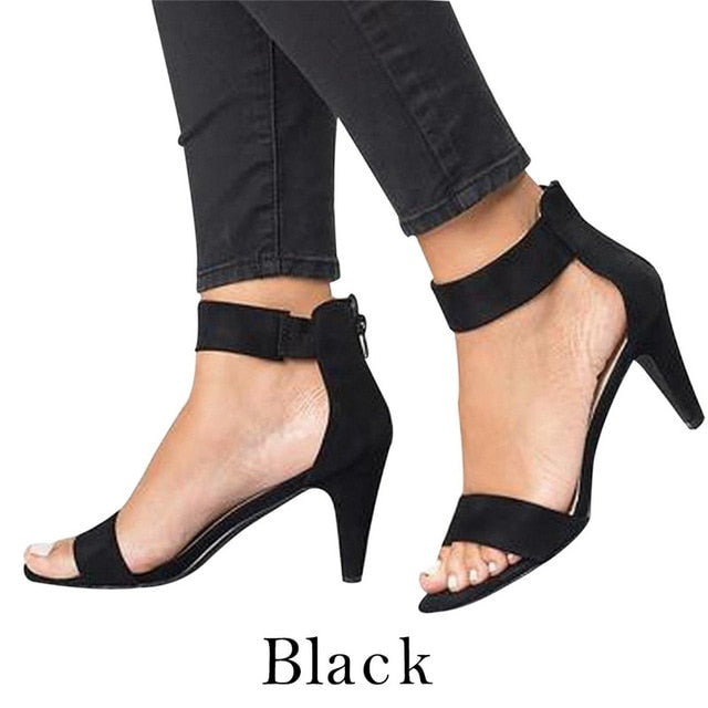 Puimentiua Shoes Woman 2019 Sandalias Mujer Strap Open Toe Summer Shoes With 5CM High Heels Sandals apatos de mujer-hipnfly-Black-36-hipnfly