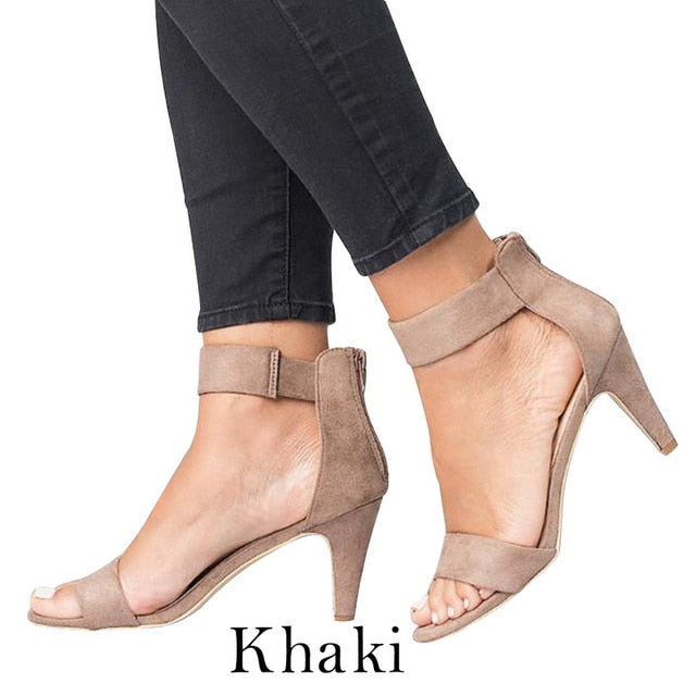 Puimentiua Shoes Woman 2019 Sandalias Mujer Strap Open Toe Summer Shoes With 5CM High Heels Sandals apatos de mujer-hipnfly-Khaki-36-hipnfly