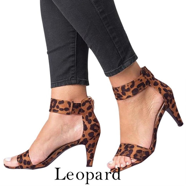 Puimentiua Shoes Woman 2019 Sandalias Mujer Strap Open Toe Summer Shoes With 5CM High Heels Sandals apatos de mujer-hipnfly-Leopard-36-hipnfly