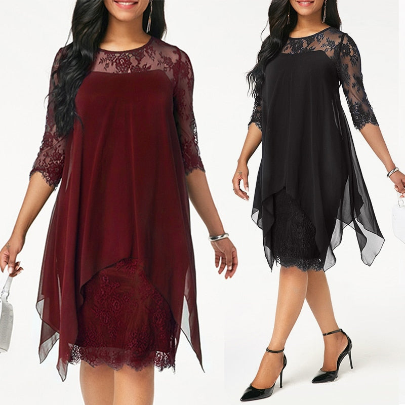 Plus Size Chiffon Dresses Women New Fashion Chiffon Overlay Three Quarter Sleeve Stitching Irregular Hem Lace Dress-hipnfly-hipnfly