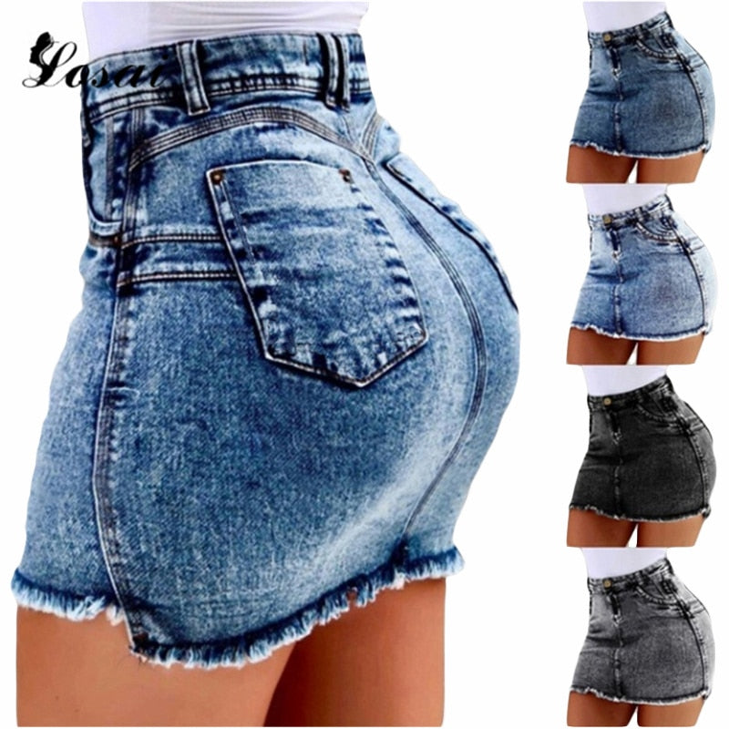 Sexy Pencil Denim Women Skirt Tassel High Waist Bodycon Mini Skirt Female Casual Streetwear Jeans Summer Skirts 2019 Plus Size-hipnfly-hipnfly